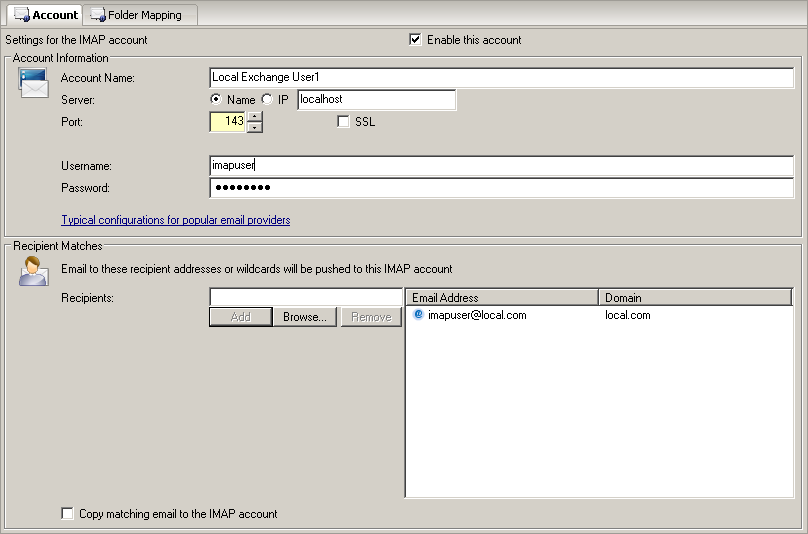how to create imap account
