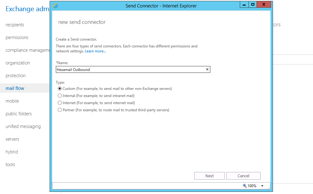Hexamail - Setting up Micrsoft Exchange/SBS