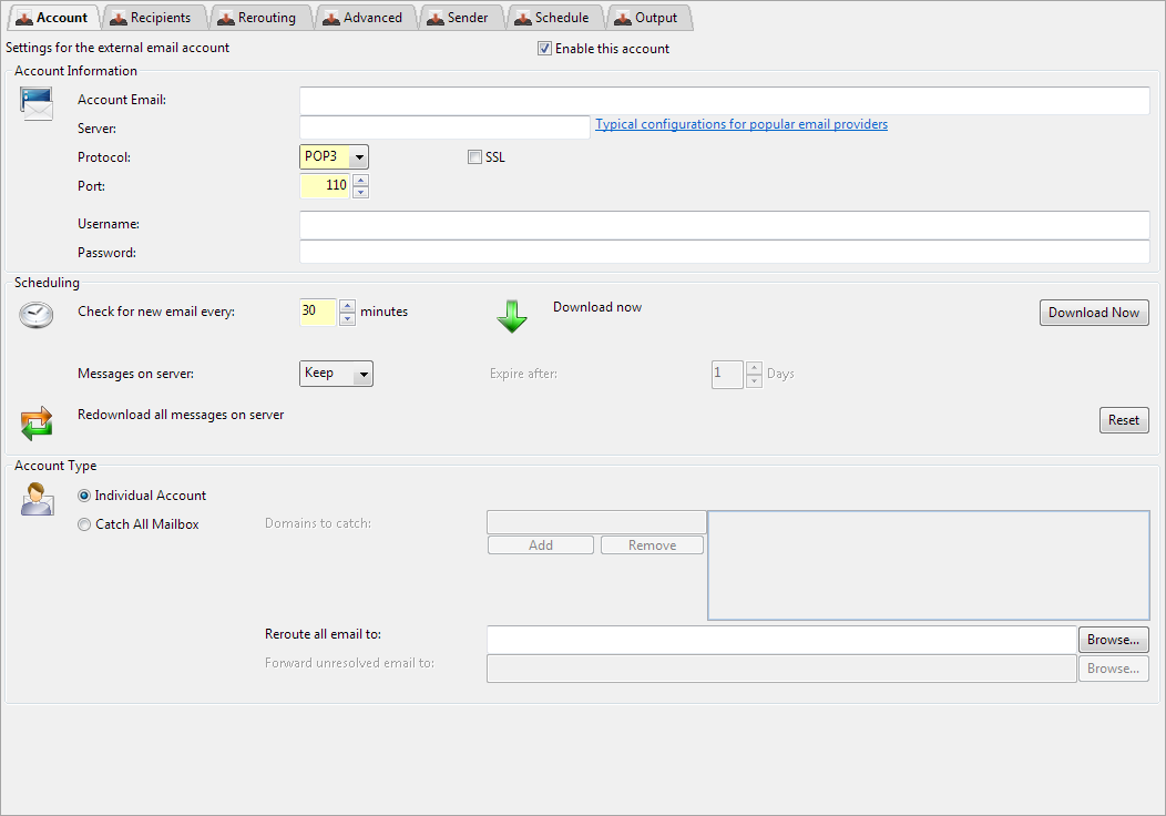 Hexamail Guard Administration Guide - External Email Account - Account