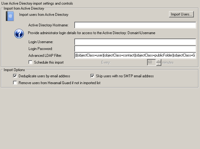 Hexamail POP3 Downloader Administration Guide - User Import Settings